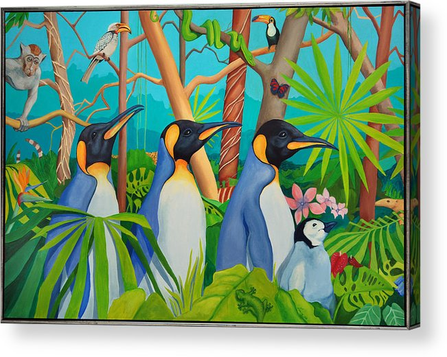 Penguins Acrylic Print featuring the painting The Tourists by Robert Lacy