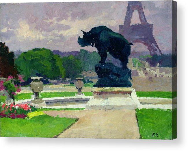 The Acrylic Print featuring the painting The Trocadero Gardens And The Rhinoceros by Jules Ernest Renoux