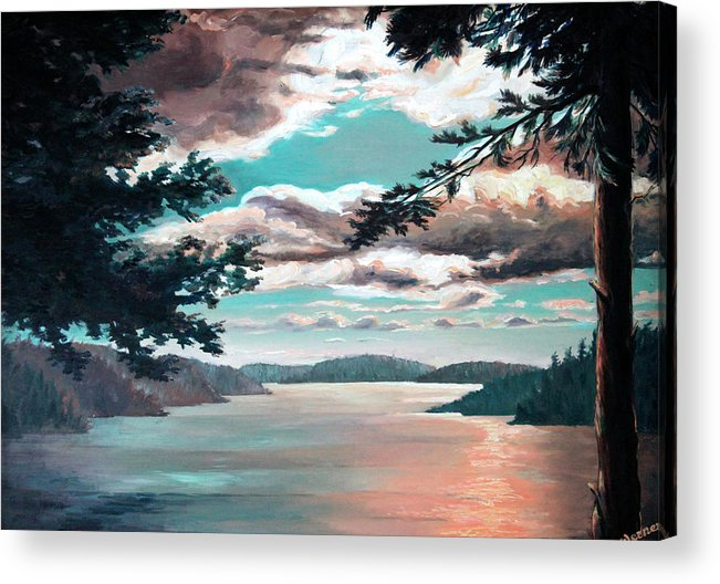 Thousand Island Cruise Acrylic Print featuring the painting Thousand Island Sunset by Hanne Lore Koehler