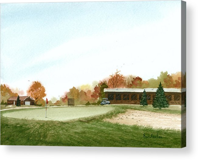 Golf Acrylic Print featuring the painting Tom's Golf Course by Sean Seal