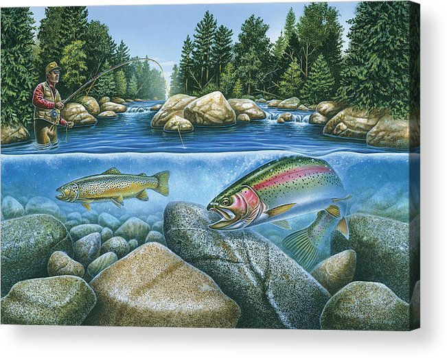 Jon Q Wright Acrylic Print featuring the painting Trout View by JQ Licensing