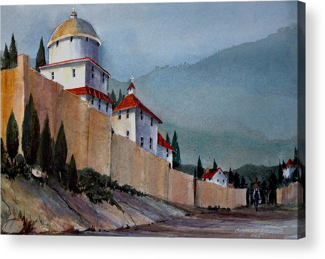 Tuscan Acrylic Print featuring the painting Tuscan Lane by Charles Rowland