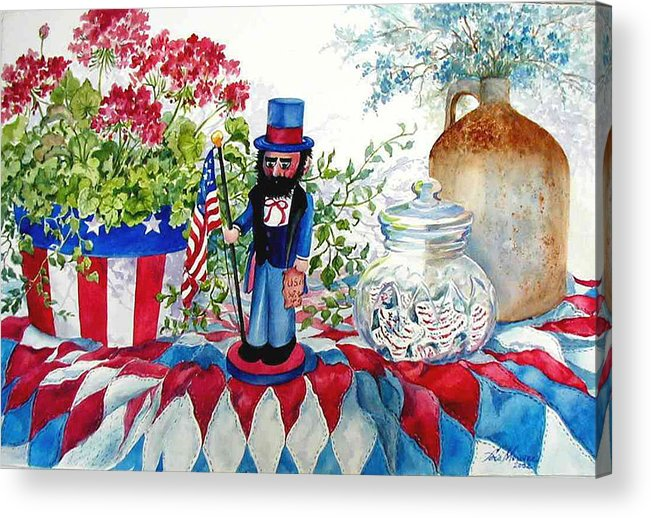 Americana;patriotic;uncle Sam;quilt;stars And Stripes;nutcracker;watercolor Painting; Acrylic Print featuring the painting Uncle Sam And Star Cookies by Lois Mountz