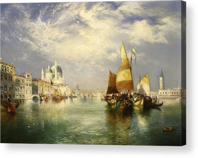 Thomas Moran Acrylic Print featuring the painting Venetian Grand Canal by Thomas Moran