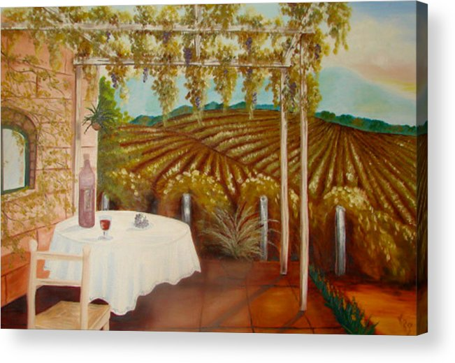 Vineyard Acrylic Print featuring the painting Vineyard II by Karen R Scoville