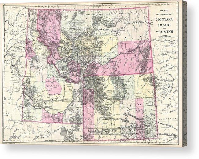 Montana Acrylic Print featuring the drawing Vintage Map Of Montana, Wyoming And Idaho by CartographyAssociates