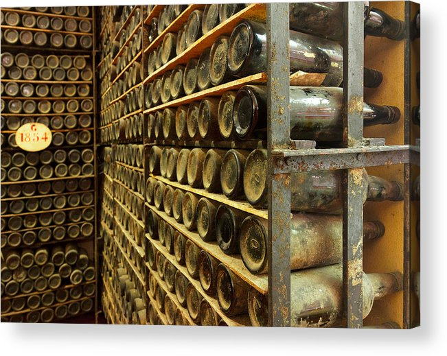 Bottle Acrylic Print featuring the photograph Vintage Wine Bottles by Anastasy Yarmolovich