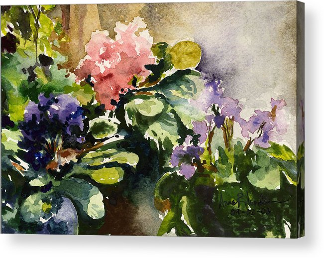 Violets Acrylic Print featuring the painting Violets In Sun by Anne Rhodes