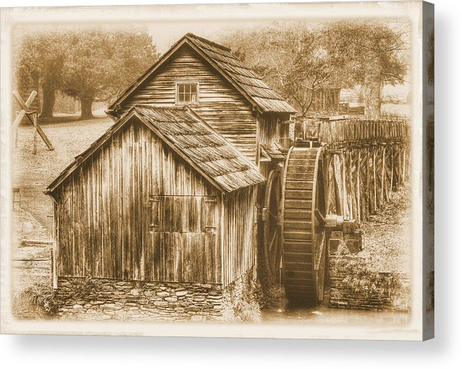 Mabry Mill Acrylic Print featuring the photograph Virginia Country Roads - Mabry Mill No. 23 Sepia - Blue Ridge Parkway, Floyd County by Michael Mazaika