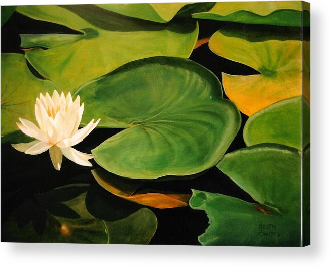 Lily Acrylic Print featuring the painting Water Lily by Keith Gantos