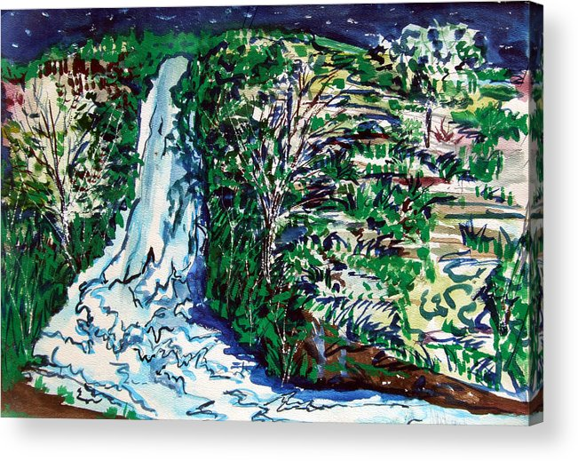 Waterfall Acrylic Print featuring the painting Waterfall by Mindy Newman