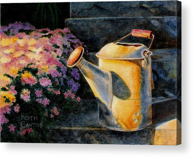 Watering Can Acrylic Print featuring the painting Watering Time by Keith Gantos