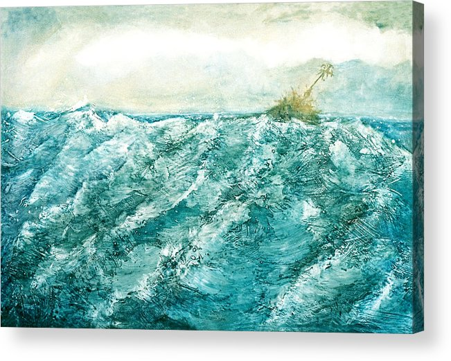 Oil Painting Acrylic Print featuring the painting wave V by Martine Letoile