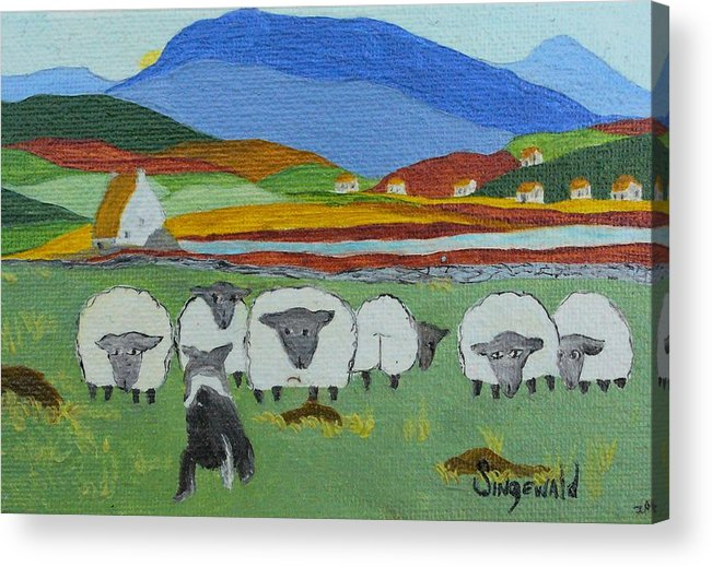 Celtic Acrylic Print featuring the painting Whos The Boss by Cary Singewald
