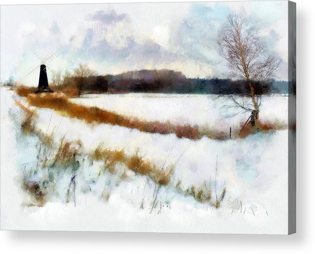 Landscape Acrylic Print featuring the painting Windmill In The Snow by Valerie Anne Kelly
