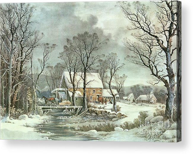Winter In The Country - The Old Grist Mill Acrylic Print featuring the painting Winter In The Country - The Old Grist Mill by Currier and Ives