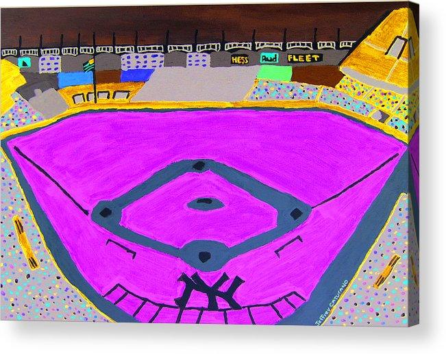 Yankee Stadium Acrylic Print featuring the painting Yankee Stadium by Jeff Caturano