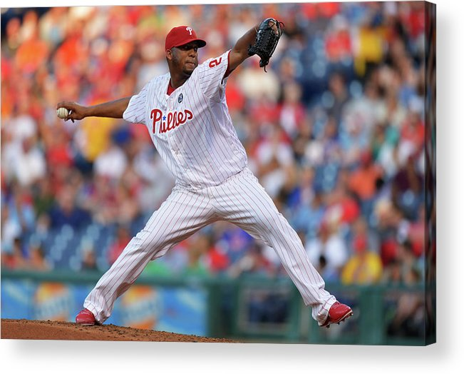 Second Inning Acrylic Print featuring the photograph New York Mets V Philadelphia Phillies 1 by Drew Hallowell