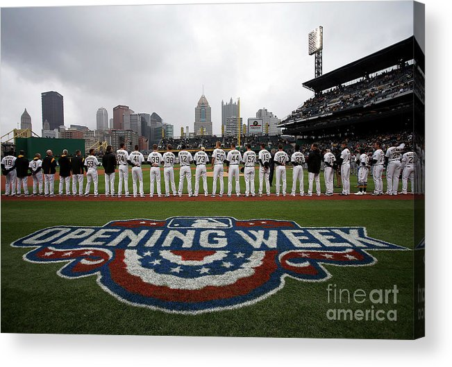 American League Baseball Acrylic Print featuring the photograph Atlanta Braves V Pittsburgh Pirates by Justin K. Aller