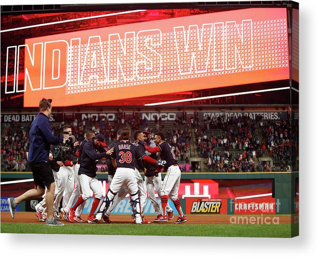 People Acrylic Print featuring the photograph Boston Red Sox V Cleveland Indians 9 by David Maxwell