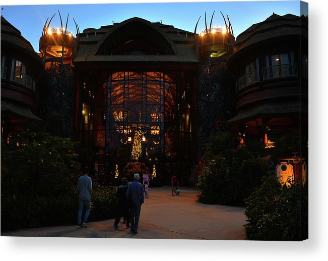 Christmas Acrylic Print featuring the photograph Ak Lodge Lobby Christmas by David Lee Thompson