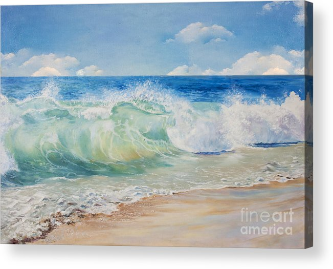 Beauty Acrylic Print featuring the digital art Beautiful, Blue, Tropical Sea And Beach by Elzza