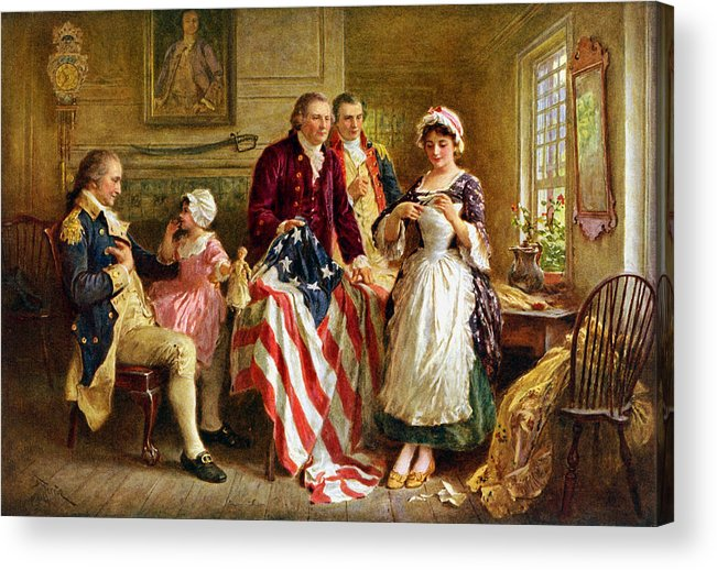 George Washington Acrylic Print featuring the painting Betsy Ross And General George Washington by War Is Hell Store
