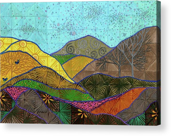 Gratitude. Mountains. Acrylic Print featuring the painting Gratitude by Sandy Thurlow