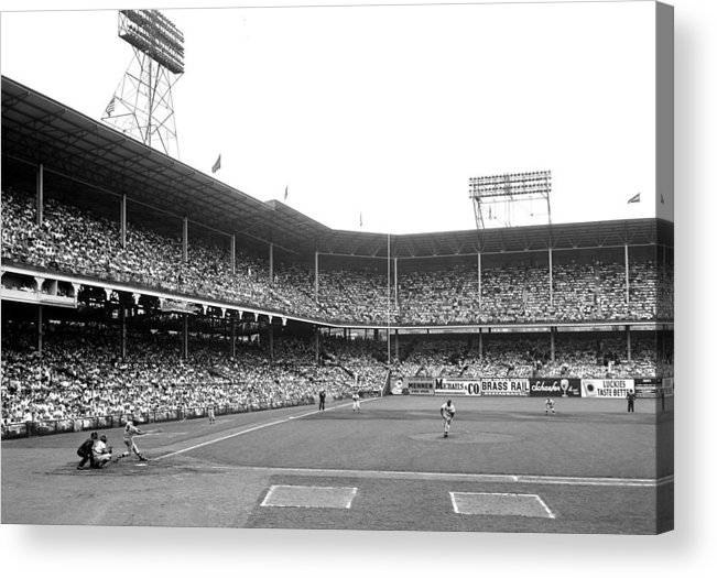 Doubleheader Acrylic Print featuring the photograph Milwakee Braves Joe Adcock Unleashes by New York Daily News Archive