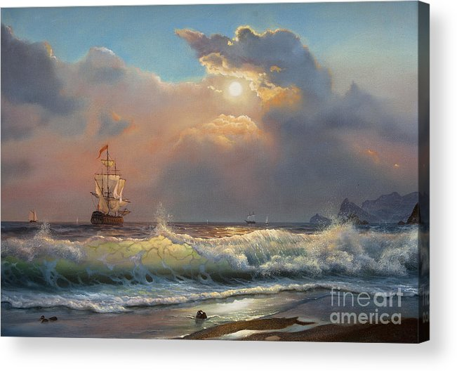 Fine Arts Acrylic Print featuring the digital art Oil Painting On Canvas , Sailboat by Liliya Kulianionak
