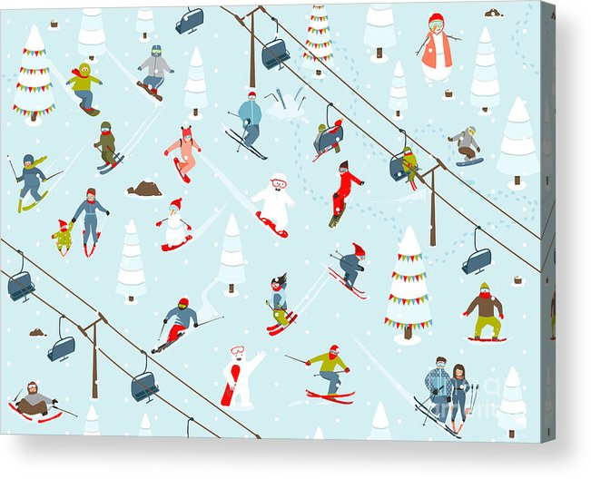 Freestyle Acrylic Print featuring the digital art Ski Resort Seamless Pattern With by Popmarleo
