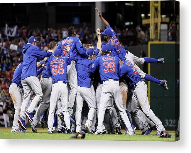 People Acrylic Print featuring the photograph Anthony Rizzo, Kris Bryant, And Chris Coghlan by Ezra Shaw