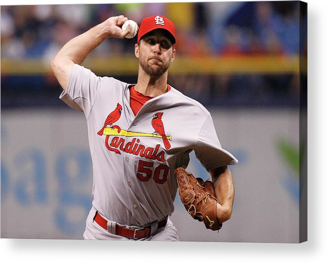 St. Louis Cardinals Acrylic Print featuring the photograph Adam Wainwright by Brian Blanco