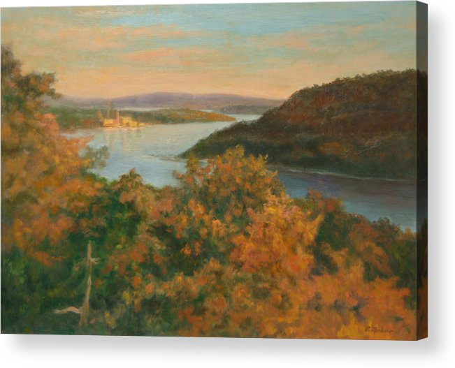 Landscape Acrylic Print featuring the painting Autumn Hudson Highlands by Phyllis Tarlow