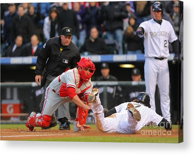 Playoffs Acrylic Print featuring the photograph Carlos Ruiz And Todd Helton by Doug Pensinger
