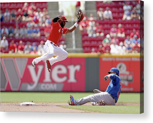 Great American Ball Park Acrylic Print featuring the photograph Kyle Schwarber And Brandon Phillips by Andy Lyons