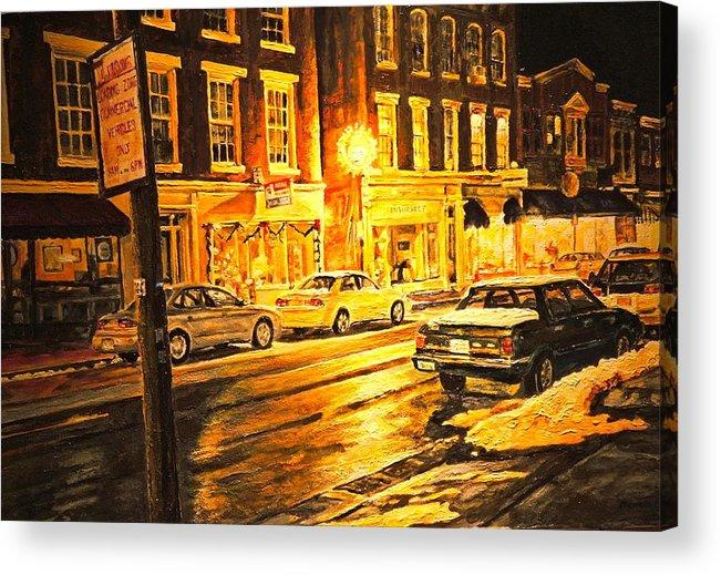 Street Scene Acrylic Print featuring the painting Lexington Street Light by Thomas Akers