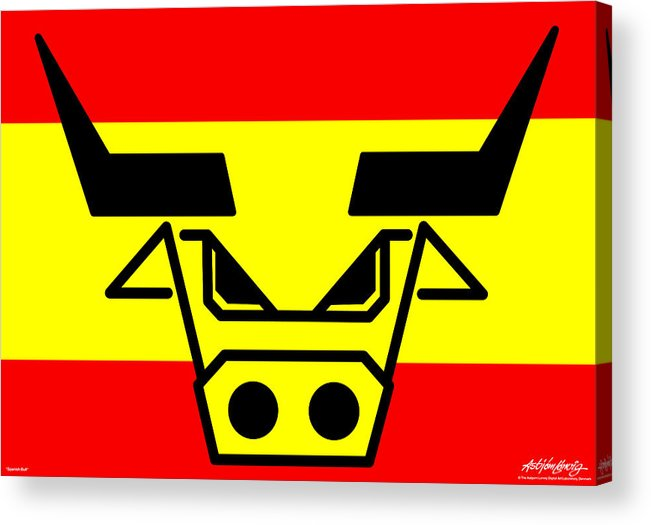 Spanish Bull Acrylic Print featuring the digital art Spanish Bull by Asbjorn Lonvig