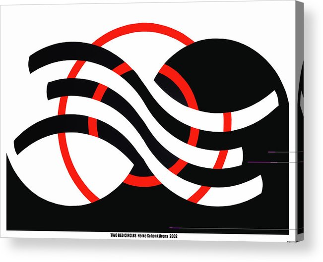 Op-art Acrylic Print featuring the mixed media Two Red Circles by Heike Schenk-Arena