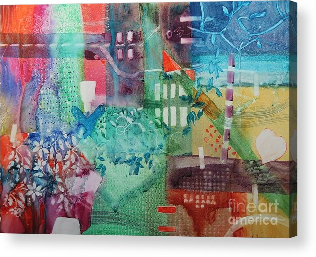 Abstract Acrylic Print featuring the painting A Spring Walk In The Park  by Elizabeth Carr