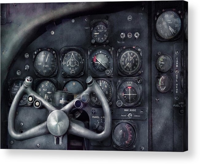Suburbanscenes Acrylic Print featuring the photograph Air - The Cockpit by Mike Savad