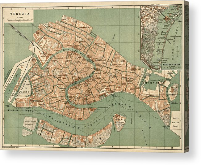 photograph relating to Printable Map of Venice identified as Antique Map Of Venice Italy As a result of Wagner And Debes - Circa 1886 Acrylic Print