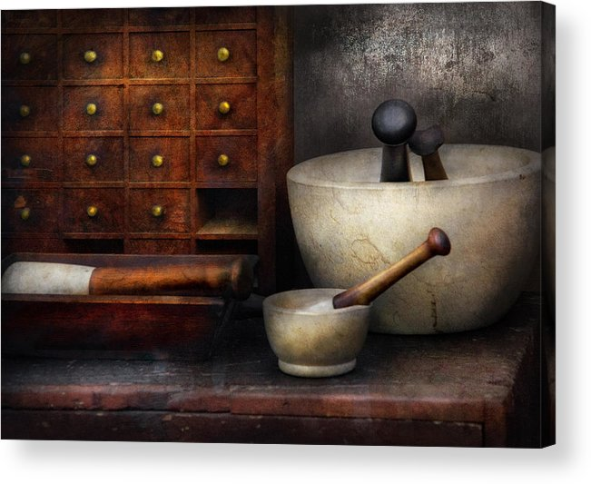 Suburbanscenes Acrylic Print featuring the photograph Apothecary - Pestle And Drawers by Mike Savad