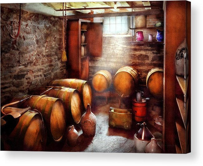 Suburbanscenes Acrylic Print featuring the photograph Bar - Wine - The Wine Cellar by Mike Savad