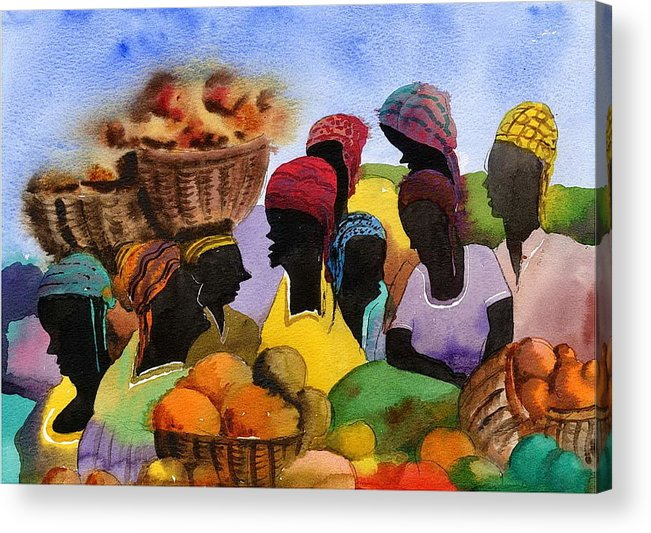 Val Byrne Acrylic Print featuring the painting Barbados Market 1 Wi by Val Byrne