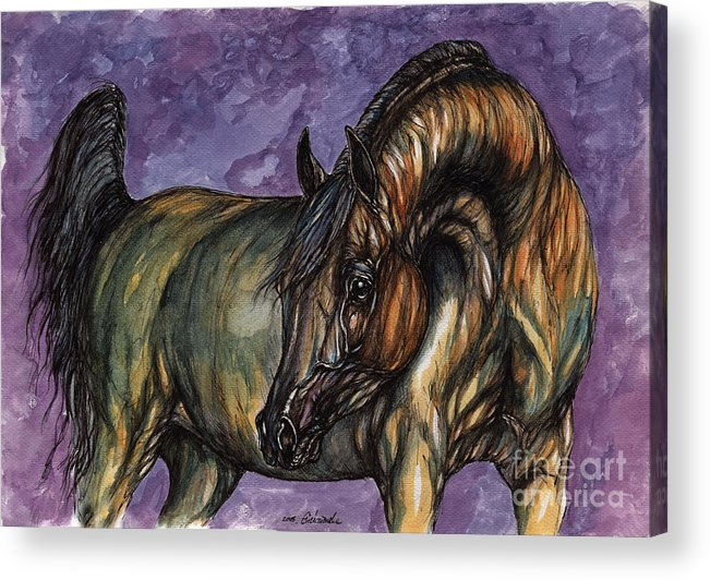 Psychodelic Acrylic Print featuring the painting Bay Horse On The Purple Background by Angel Ciesniarska
