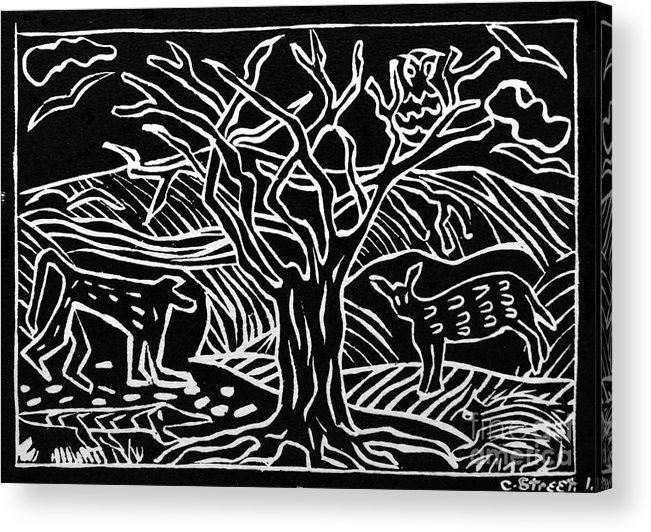 Lino Print Acrylic Print featuring the relief Bushveld Indaba by Caroline Street