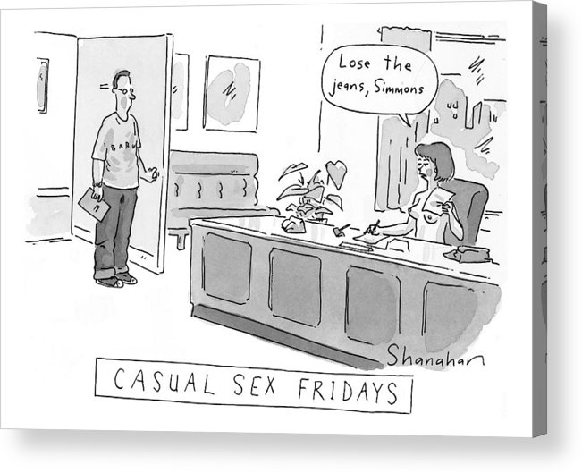 Sex Acrylic Print Featuring The Drawing Casual Sex Fridays By Danny Shanahan