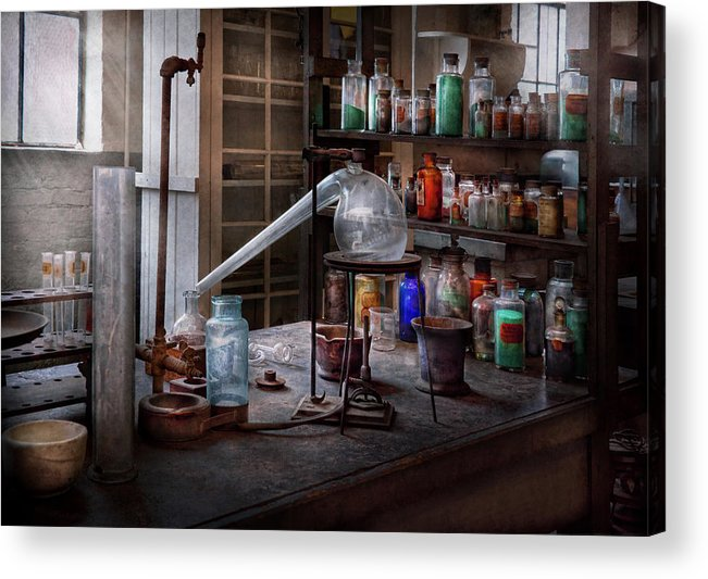 Hdr Acrylic Print featuring the photograph Chemist - My Retort Is Better Than Yours by Mike Savad