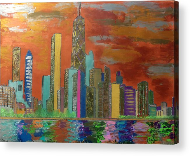 Chicago Acrylic Print featuring the painting Chicago Metallic Skyline by Char Swift